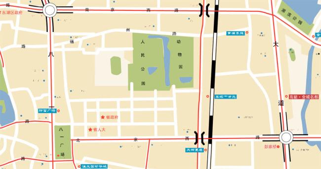 南昌市地图鼠绘素材矢量下载
