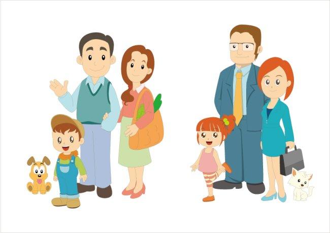卡通家庭人物插画