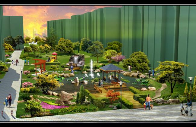 小区景观设计效果图