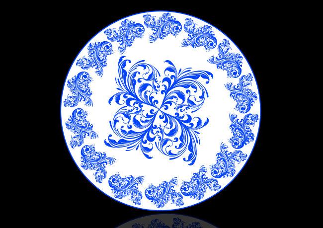青花瓷盘子 复古素材 青花瓷背景
