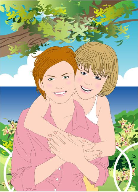 母女拥抱手绘画