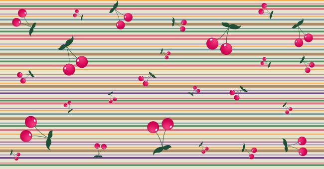 樱桃彩色线条 广告背景插画