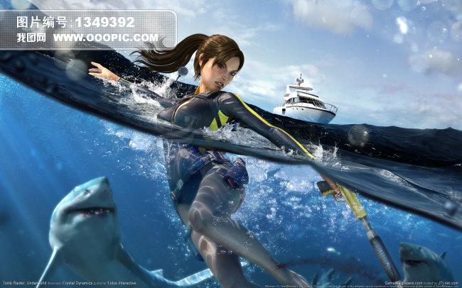 美女 鲨鱼模板下载图片编号:1349392
