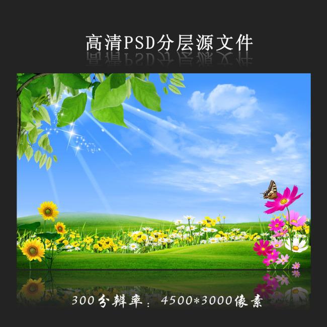 鲜花绿叶蓝天白云草地光海报设计模板