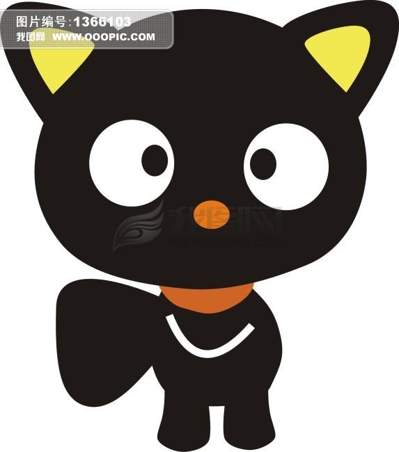 猫咪头像黑色手绘