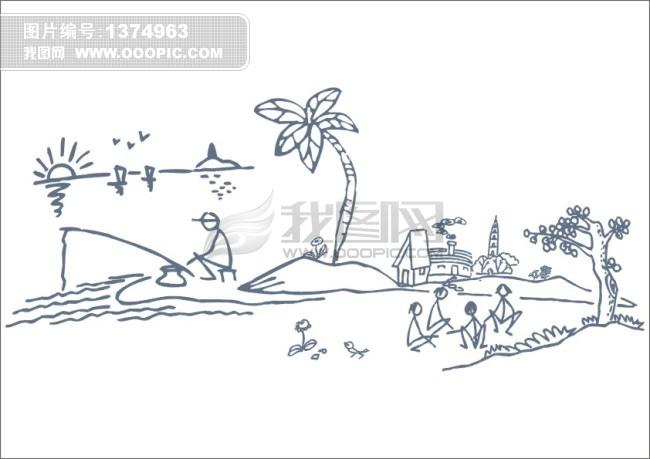 海边钓鱼模板下载(图片编号:1374963)_其它插画_插画