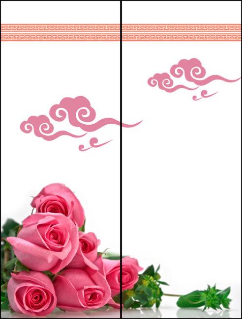 图案 玻璃/玫瑰花玻璃移门图案PSD下载