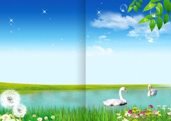 封面设计 封面素材 封面图片素材 绿叶 绿叶植物 鹅 蒲公英 花 花朵