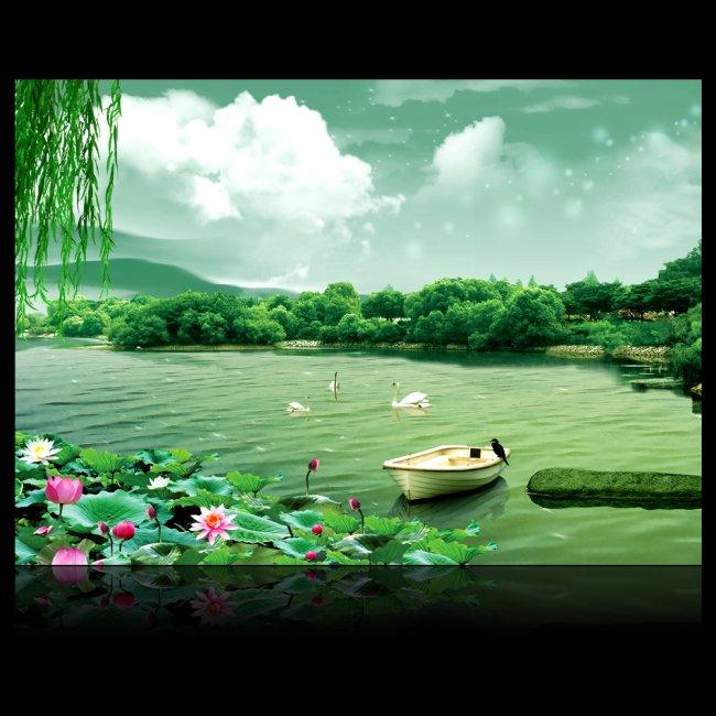 风景 荷花 山水 天鹅 展板设计