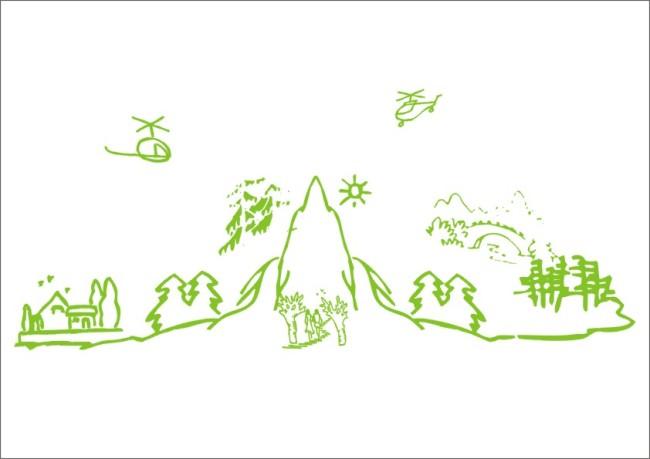 钢笔画 简笔画 简写画 山水画 树木 小树 花草 房屋 小屋 小房 农舍