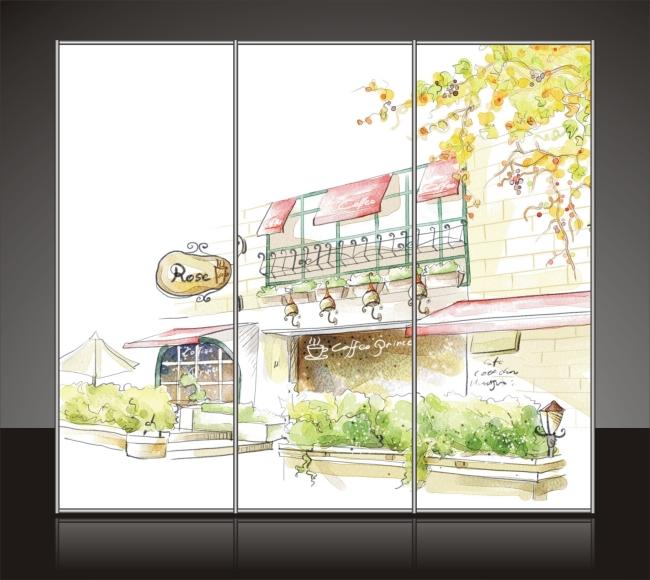 咖啡厅手绘效果图简单