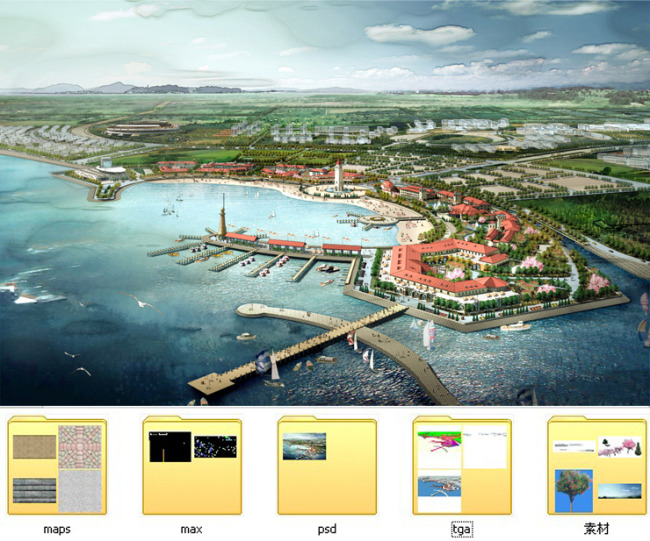 海边建筑群规划手绘