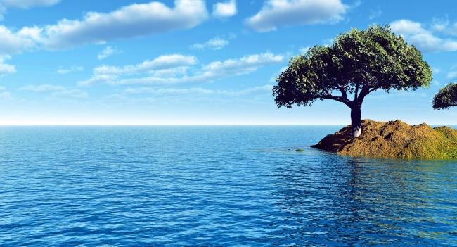 蓝天白云湖水手绘