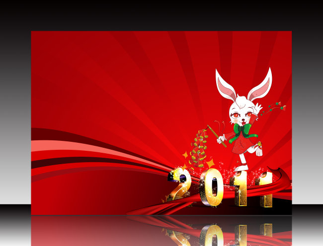 新年图片 新年墙报 2011 兔子 兔子美女 兔子卡通 兔子图片 红色背景图片