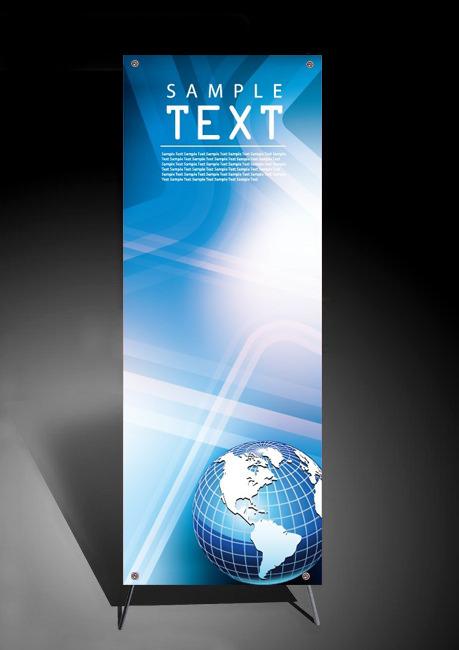 炫色地球 科技商务x展架设计矢量模板