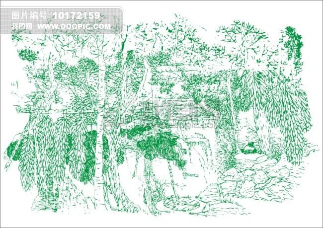 钢笔手绘风景树林