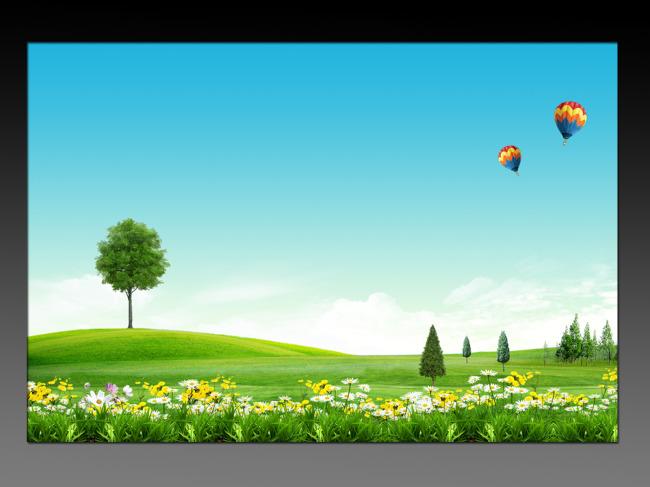 风景海报背景设计图片下载蓝天白云草地鲜花树林图片