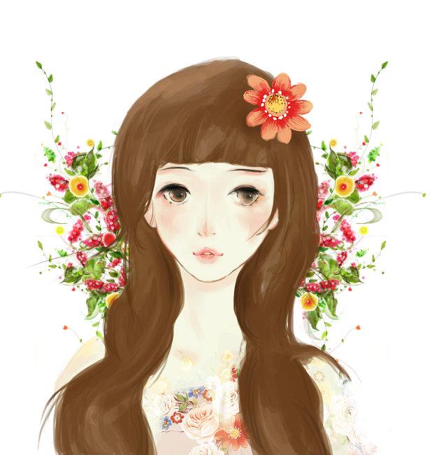 人物插画花仙子图片下载 人物插画花仙子 唯美风格插画