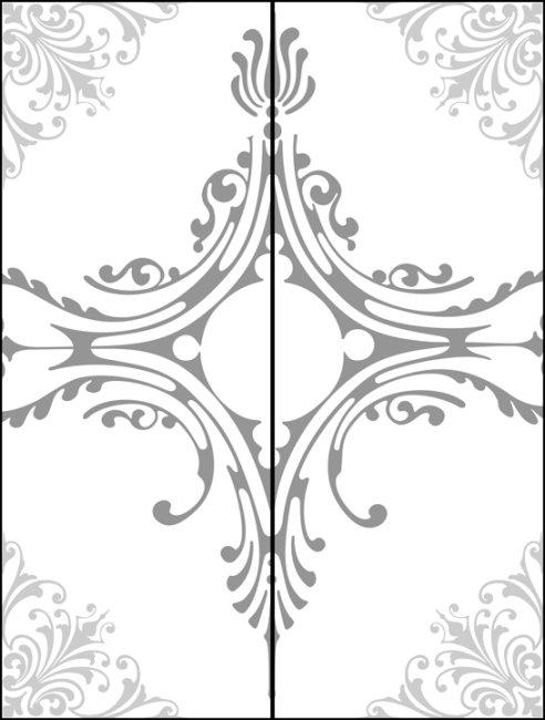 简洁花纹玻璃移门图案psd下载