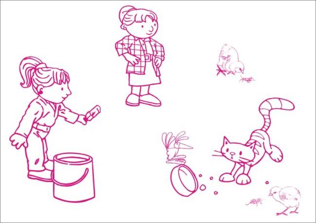 小姑娘喂养动物-手绘画