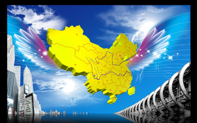 【psd】立体中国地图|现代城市海报背景