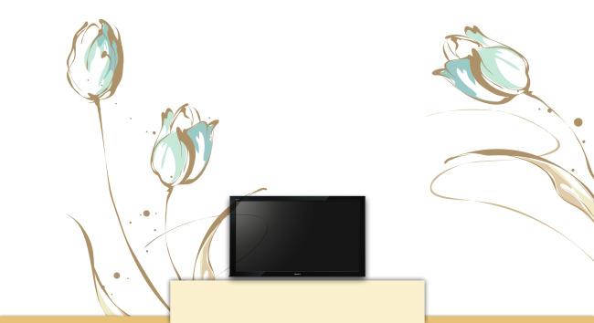 墙体彩绘电视机背景墙郁金香