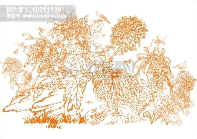 鸟语花香-手绘画 矢量 素材 白描画 素描画 手绘画 美术画 工笔画