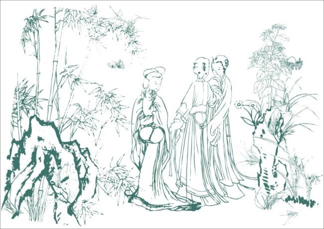 简笔画 美工画 插画 工笔画 国画 人物画 古画 竹子 古典美人 古代
