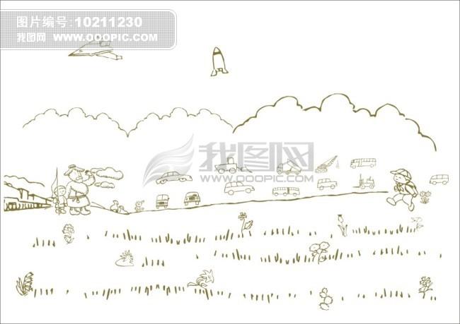 简写画 简笔画 钢笔画 线条画 画 放羊人 上学路上 公路 汽车 公交车