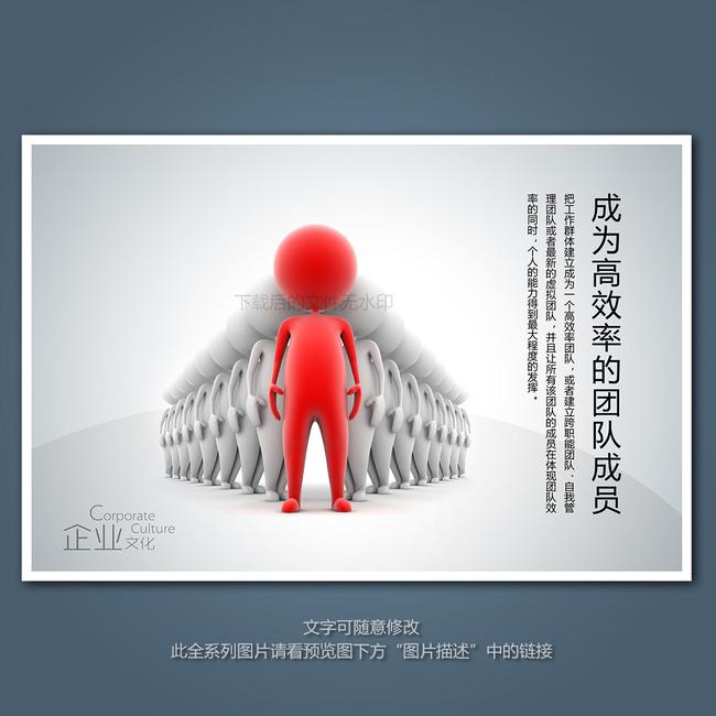 企业文化展板海报之成为高效率的团队成员