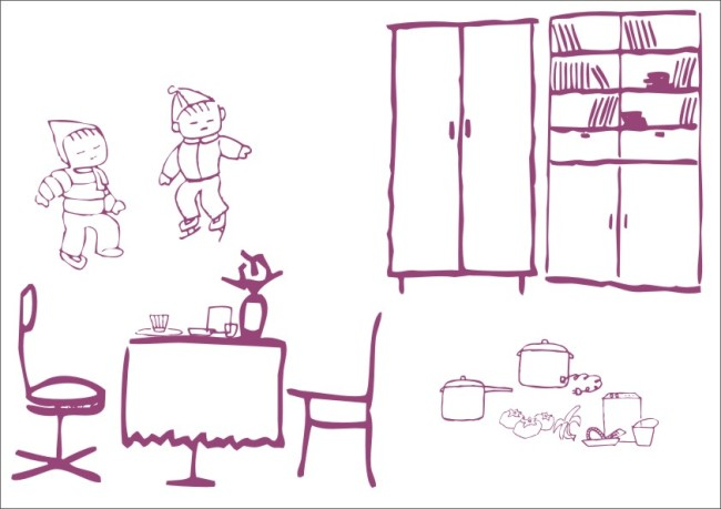 美术画 简笔画 线条画 美工画 手描画 插画 人物画 小孩子 书房 柜子