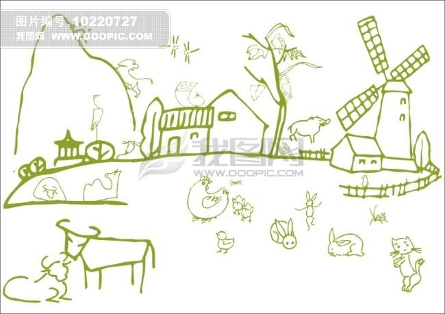 风景简笔画-大风车 纸风车是一种来自民间的折纸艺术