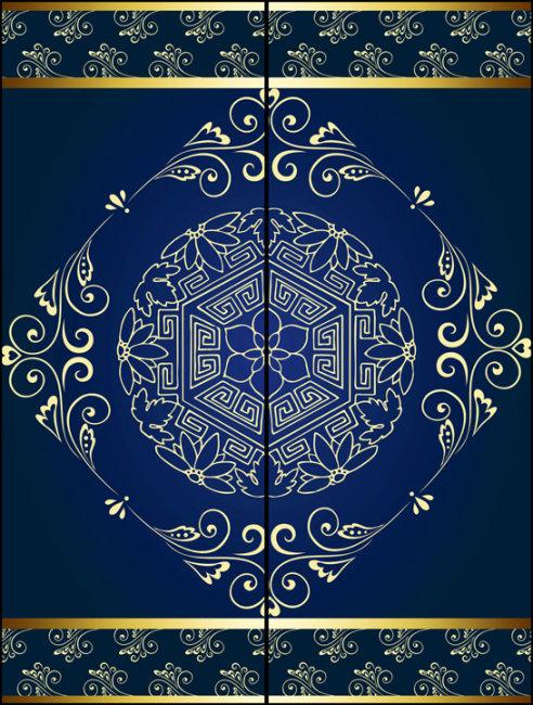 古典风格花纹玻璃移门图案psd下载
