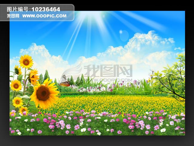 蓝天白云鲜花 漂亮风景海报背景图片下载