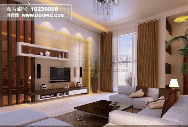 简约中式客厅效果图图片素材(图片编号:10239908)