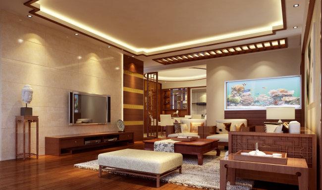 中国风室内设计 中国风系列 中国风格 木纹温馨中式装修 中式效果图