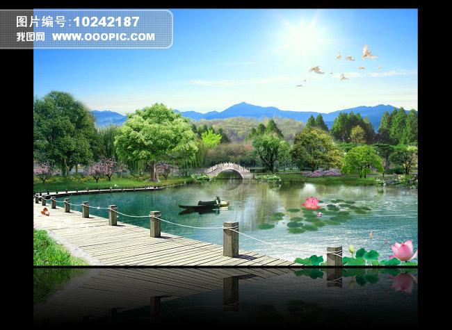 湖边山水风景画模板下载(图片编号:10242187)
