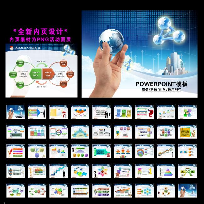 商务科技化学贸易业绩报告ppt模板下载