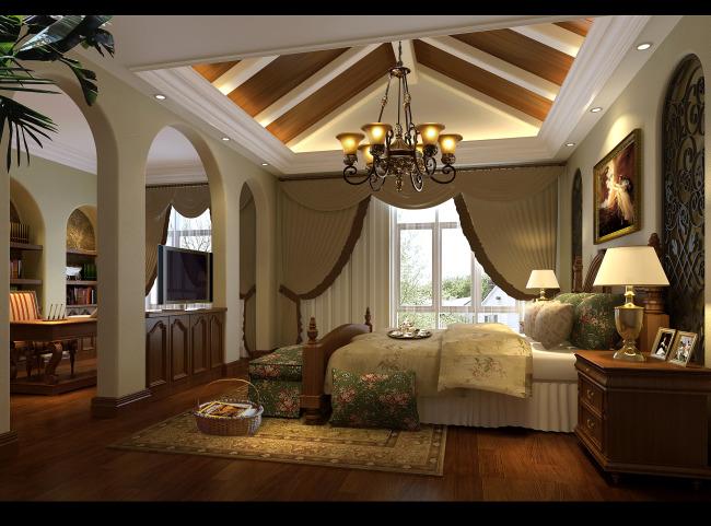 欧式卧室效果图模板下载 欧式卧室效果图图片下载 造型吊顶 墙面造型图片