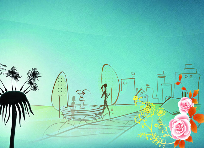 平面设计 海报设计 海报背景图 > 手绘城市郊区海报背景  找相似 下一