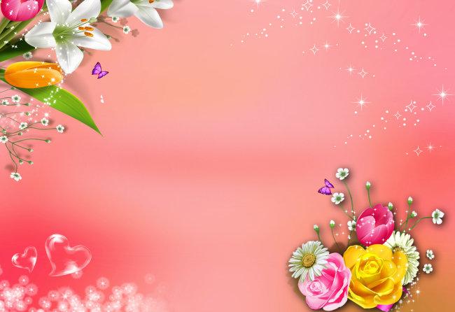 粉色百合花背景图素材