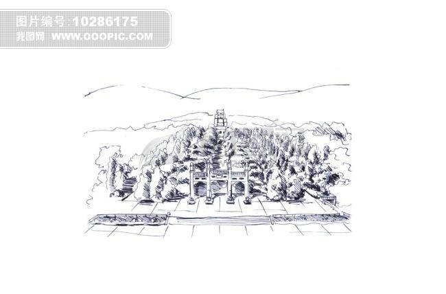 四川成都风景区钢笔画
