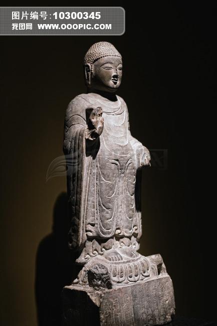 上海博物馆石雕佛像侧面