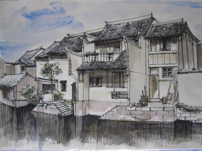 速写 建筑速写 淡彩 手绘 建筑手绘 建筑手绘表现 传统建筑