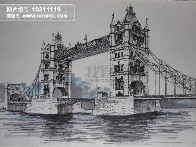 泰晤士桥模板下载 泰晤士桥图片下载 欧洲 建筑 欧洲建筑 手绘 手绘