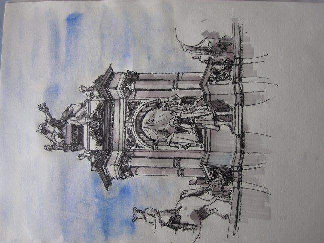 欧洲建筑 教堂 教堂建筑 欧洲教堂建筑 手绘 手绘建筑 钢笔速写 淡彩