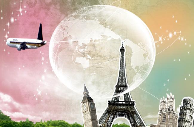 家庭生活模板下载 家庭生活图片下载 飞机 云 地球 星 高塔 高楼 彩霞
