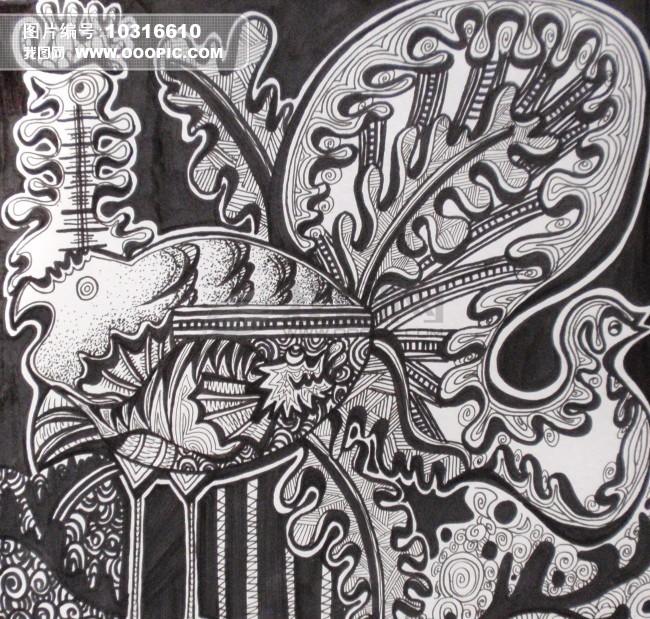 黑白創意抽象動植物裝飾畫圖片素材(圖片編號:)