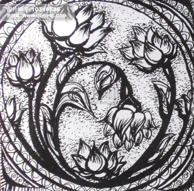 手绘花卉黑白装饰画_花卉黑白装饰画图片_植物花卉黑白装饰画_植物
