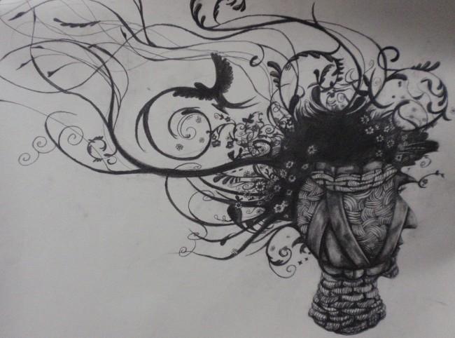 动感抽象优美黑白插画设计图